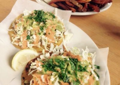 Grilled halibut tacos with extra crispy fries